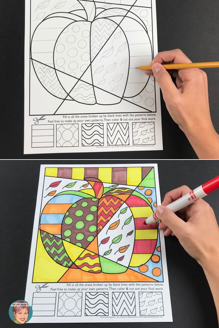 Students Will Love These Fall Themed Coloring Pages Because They Are Interactive In Nature T Halloween Art Projects Elementary Art Projects Kids Art Projects
