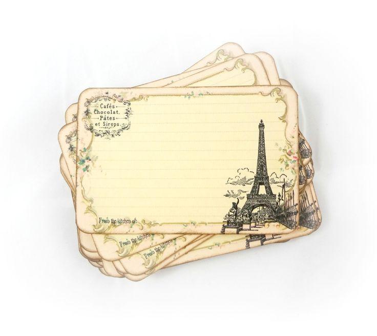 Paris Recipe Cards - French Bridal Shower Recipe Card Set - Eiffel Tower - Set of 50