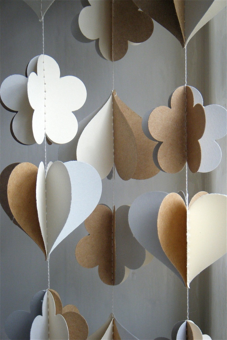3D Paper Mobile Heart Strings - The Daisy Edition. $15.00, via Etsy.