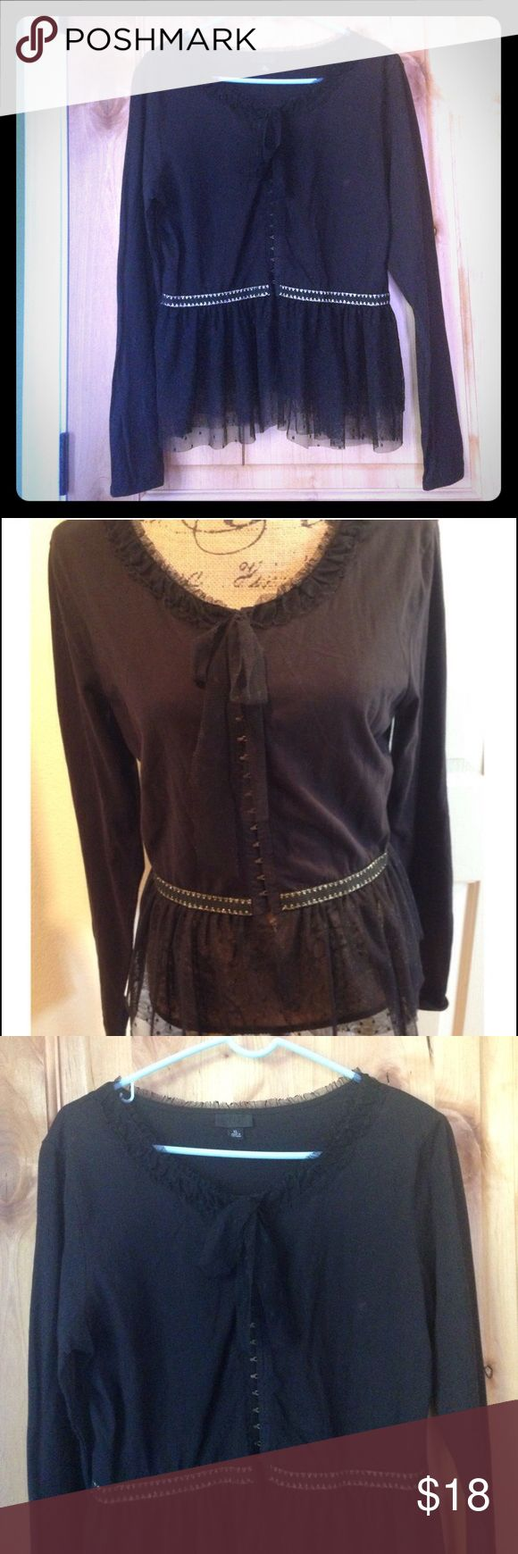 ANNA SUI for Target Black Tulle Gold Trim EUC XL ANNA SUI for Target Black Tulle Gold Trim EUC XL *Tiny Stain that appears to be ink on Front Left Bust. Priced Accordingly. *More details on top added shortly. Anna Sui for Target Tops Blouses