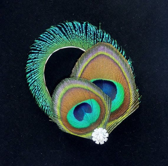 Bridesmaids Peacock Feather Hair Clip Crystal Turquoise Blue Fascinator Wedding Hair Accessory GRACE
