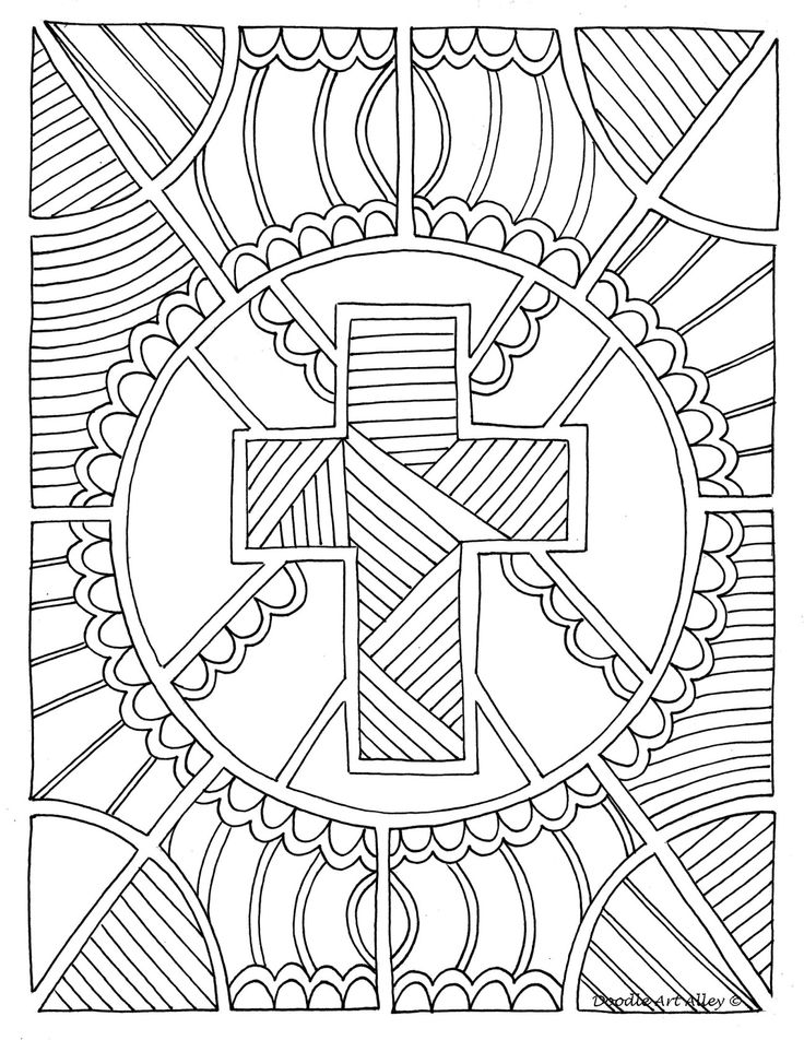adult religious coloring pages | Great Christian Doodle Design... | Adult Coloring Therapy ...