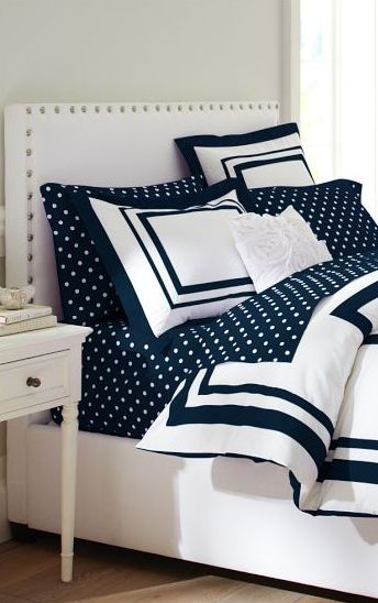 Navy polka dotted sheets! http://rstyle.me/n/fk2funyg6