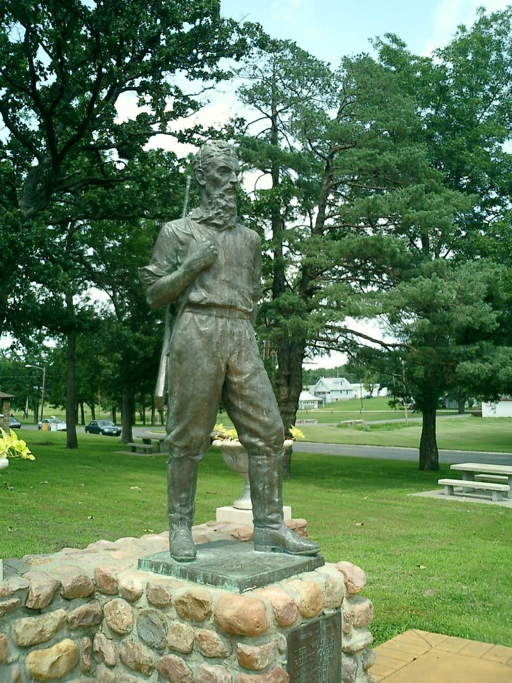 Off US 169 in Osawatomie, Kansas. Once the home of John Brown. It's said a meteor hit this statue in 1893. Make of that what you will.