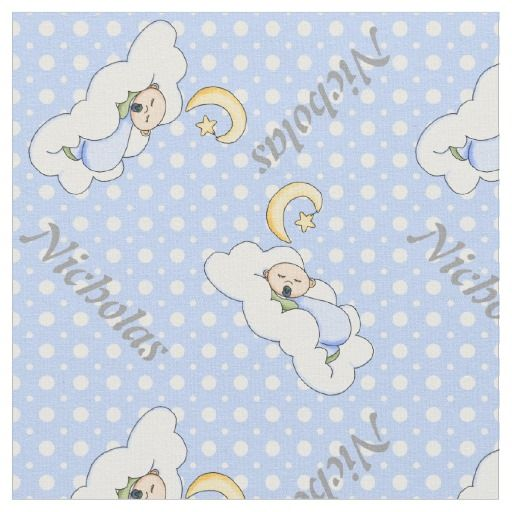 Sleeping baby boy and light bluepolka dot nursery fabric with personalized name. #fabric   #babygirl   #polkadots   #blue   #personalized