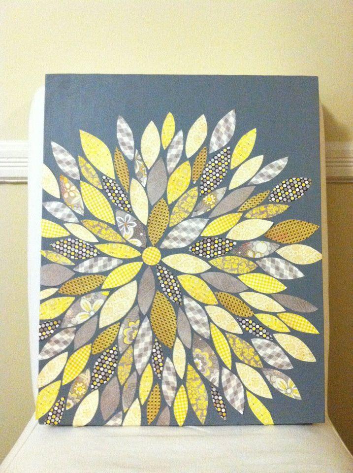 Flower canvas...using scrapbook paper!  Genius!