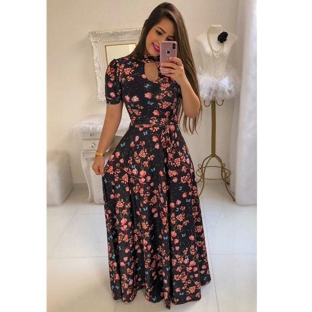 Women's floral printed maxi dress short sleeve casual swing long maxi dress with belt vintage party dress plus size 5xl 2