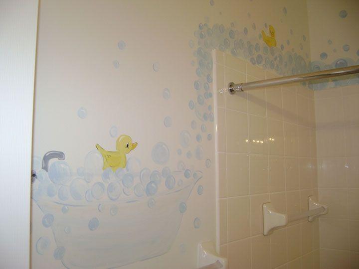 Cute Hand Painted Bathroom Mural Featuring Rubber Ducks
