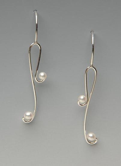 Delicate Pearls: Lonna Keller: Silver & Pearl Earrings - Artful Home