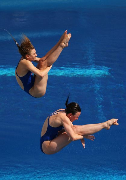 Rebecca Gallantree and Alicia Blagg of Great Britain compete in the Women's 3m Springboard Synchronised Diving preliminary round on day one of the 15th FINA World Championships at Piscina Municipal de Montjuic on July 20, 2013 in Barcelona, Spain.