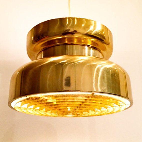 Impressive Scandinavian vintage brass pendant from by Deerstedt