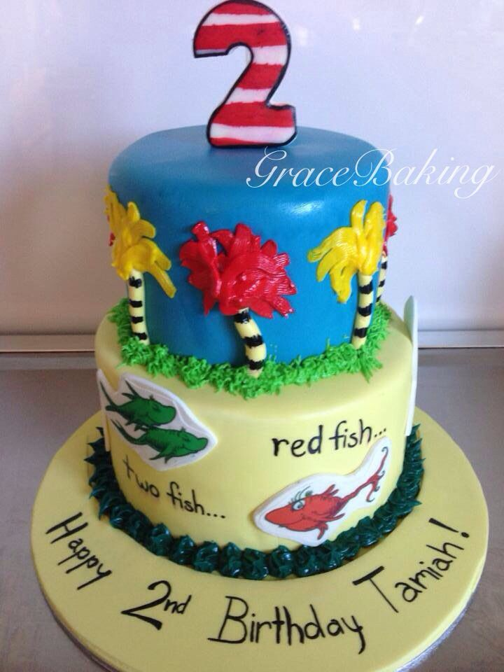 "Dr Seuss ""One fish, two fish, red fish, blue fish"" cake by Grace Baking"