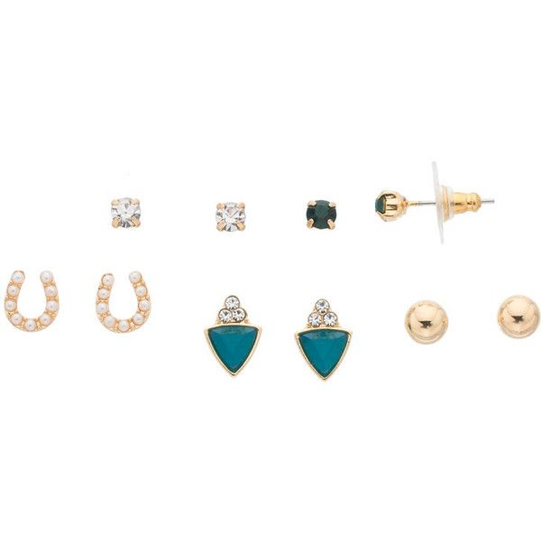 LC Lauren Conrad Horseshoe & Triangle Nickel Free Stud Earring Set (820 DZD) ❤ liked on Polyvore featuring jewelry, earrings, green, metal earrings, green stud earrings, triangle earrings, nickel free earrings and green earrings