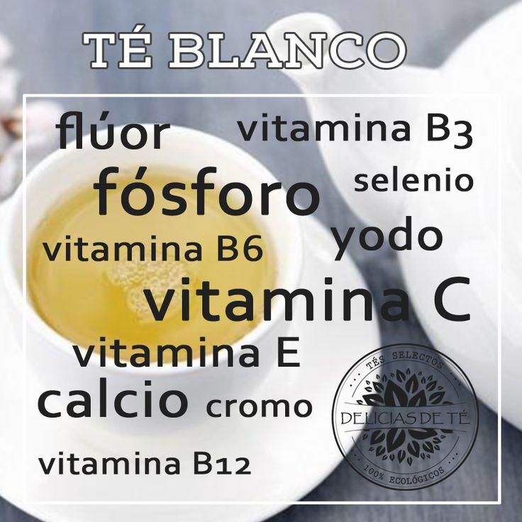 5 tipos de té y sus beneficios para la salud. Infografía Té Blanco. Vitaminas y Minerales.