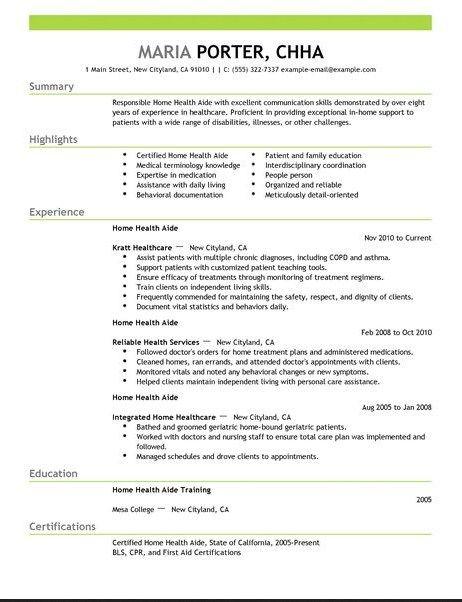 health aide resume job resume samples pinterest health resume