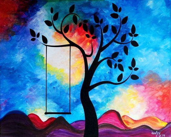 Artículos similares a Original pintura acrílico sobre lienzo paisaje abstracto moderno - 20 x 16 pulgadas - sueño de infancia en Etsy