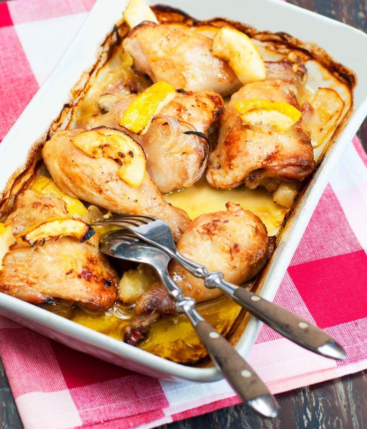 Poulet au citron, oignons rouges, sauge et thym frais - Et si c'était bon...
