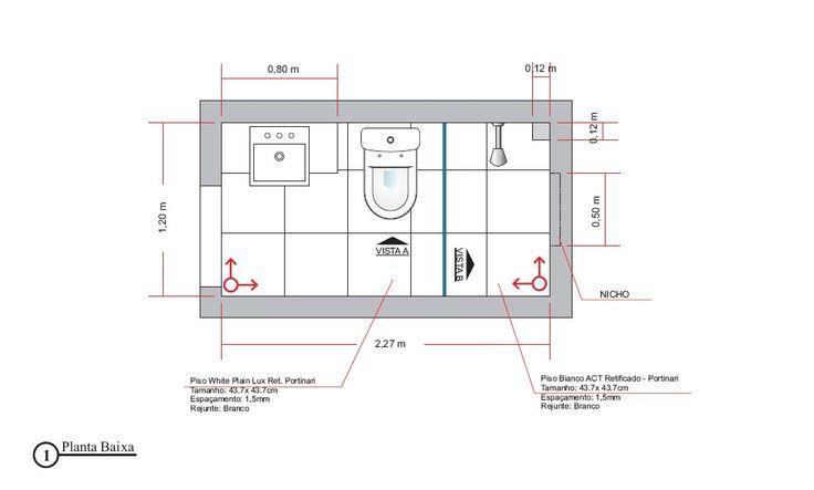planta 1. Banheiro 3 metros