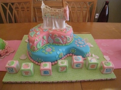 Paisley Baby Shower Cake By LoisElaine on CakeCentral.com