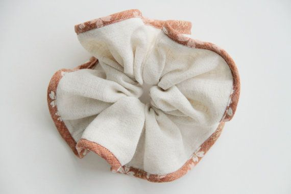 Simple Linen Cotton Hair Scrunchie with Japanese by KHandmadeHK, $12.00