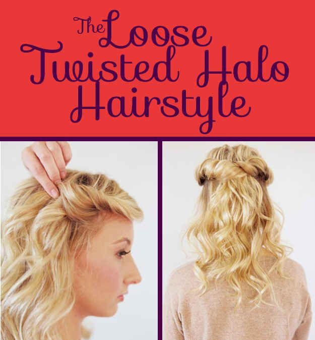 The Loose Twisted Halo Hairstyle | 26 DIY Hairstyles Fit For A Princess