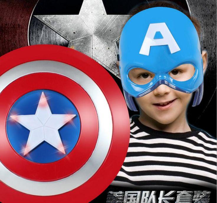 Licht emittierende stimme super hero allianz der rächer captain america schild helm cosplay für kinder spielzeug
