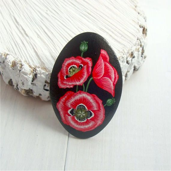 Wooden brooch with hand-painted poppies red flowers
