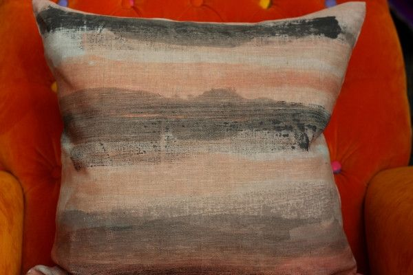 Hand Printed by Smitten Design - Cushion Cover in Dusky Pink/Charcoal 45cm x 45cm
