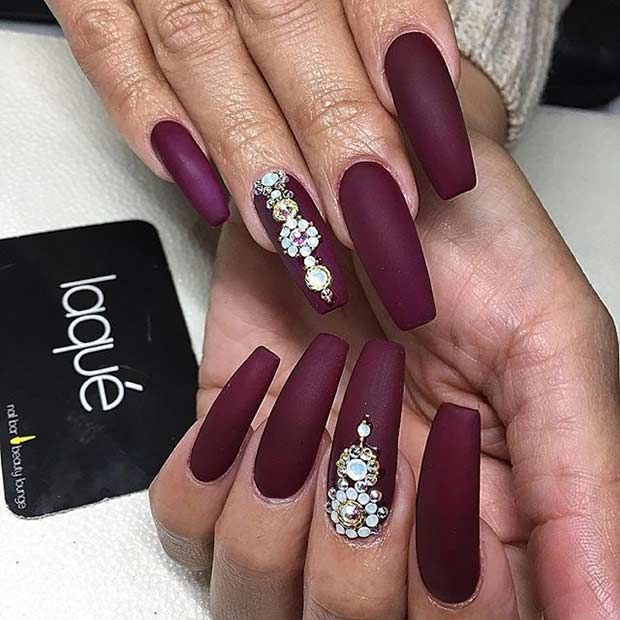Super Long, Matte Burgundy Coffin Nails