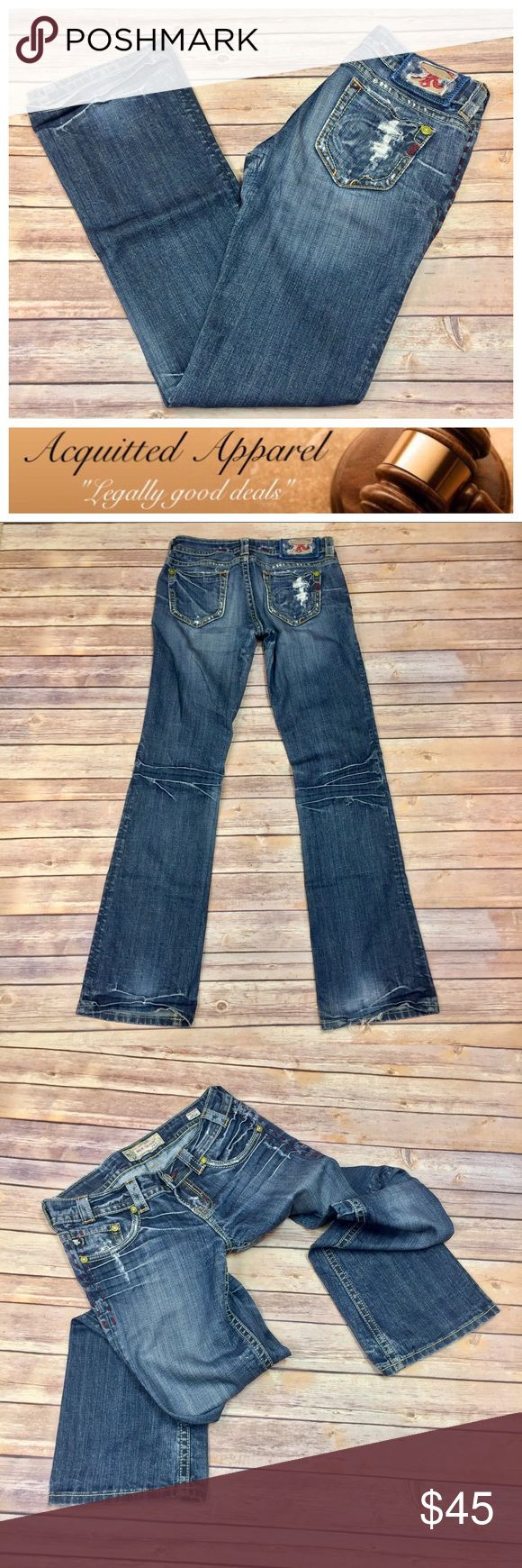 "(MEK) Capetown Bootcut Jeans 34"" Inseam (MEK) Capetown Bootcut Jeans 34"" Inseam Long length MEK Capetown Bootcut Jeans with distressing in like new condition. - Size 27 - 34"" inseam - 98% cotton 2% Spandex - 7"" Rise MEK Jeans Boot Cut"