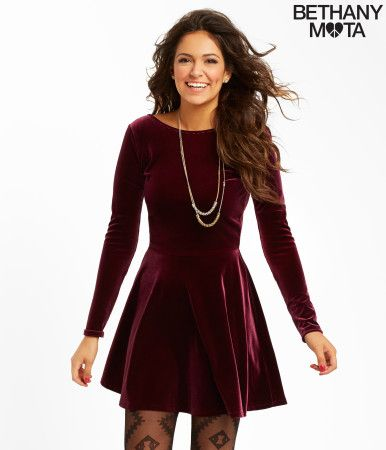 Solid Velvet Dress from the new Bethany Mota Collection at Aeropostale