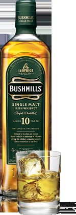 BUSHMILLS 10 YEAR-OLD SINGLE MALT BOTTLE PLUS 10 YEAR-OLD SINGLE MALT ON THE ROCKS DRINK