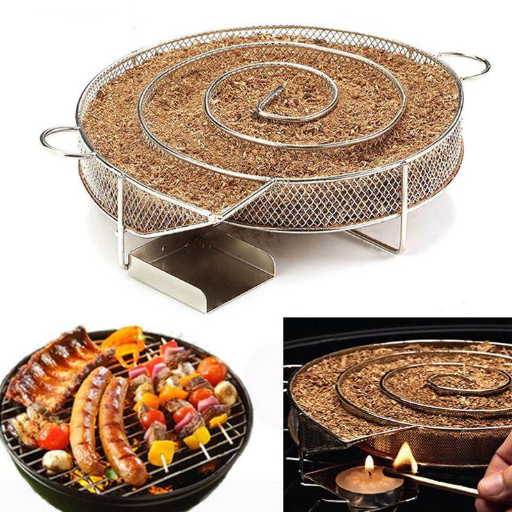 Stainless Steel Wood Chips Grill Basket Smoker Picnic BBQ Cold Smoking Generator Tray Sale - Banggood.com