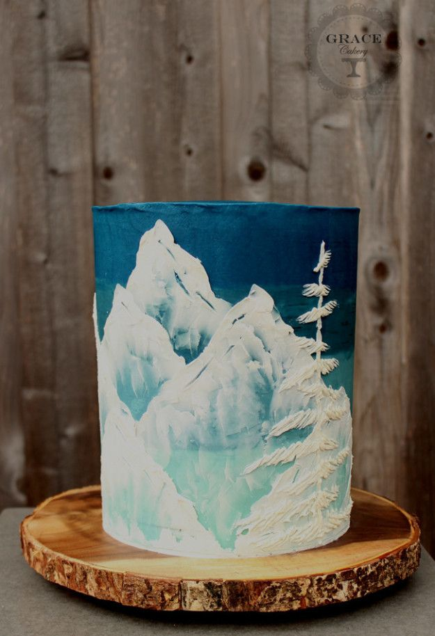 This stunning wintry landscape. | Community Post: 15 Ridiculously Stunning Nature Cakes That Are Almost Too Perfect To Eat