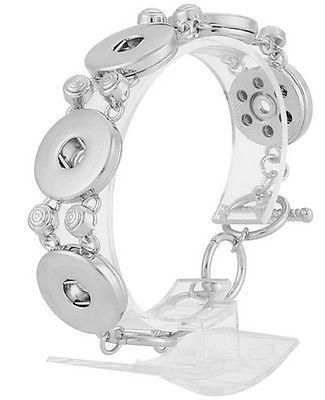Silver Five 18-20mm Snap Interchangeable Charm Bracelet For Ginger Snaps Jewelry