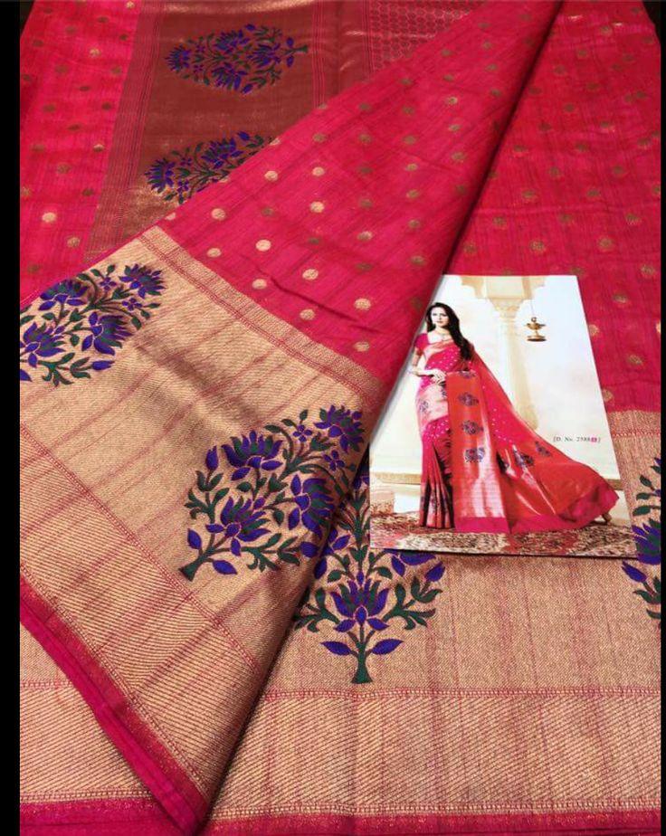 Fuchsia  Kanchipuram Spun Silk Woven Saree by ZainabBoutique on Etsy