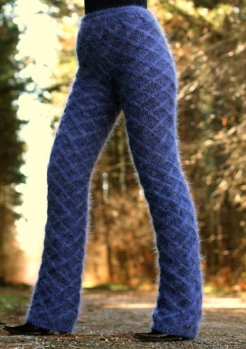 New hand knitted mohair pants THICK DENIM BLUE soft leg warmers by SUPERTANYA
