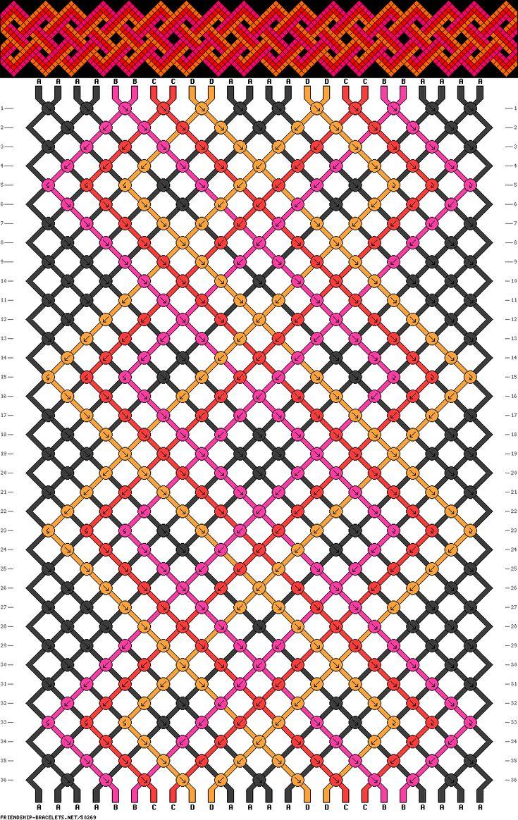 Friendship bracelet pattern - 24 strings, 4 colors - celtic, weave, braid