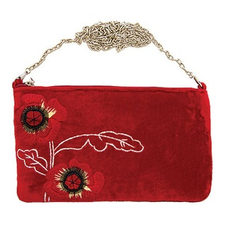 In sumptuous velvet this simply divine bag is adorned with the gorgeous new Poppy design, featuring delicate yet dramatic hand stitched poppies and beautiful raised black bead detail.