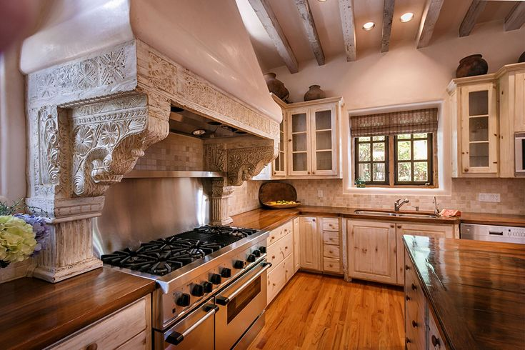 Stove Hood with Corbels & Columns   Rustic kitchen ...