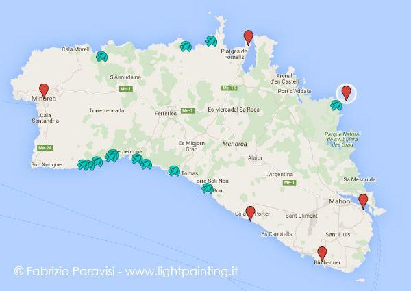 Risultati immagini per minorca mappa delle spiagge