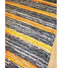 Vászon rongyszőnyeg szürke, sárga 70 x 170 cm