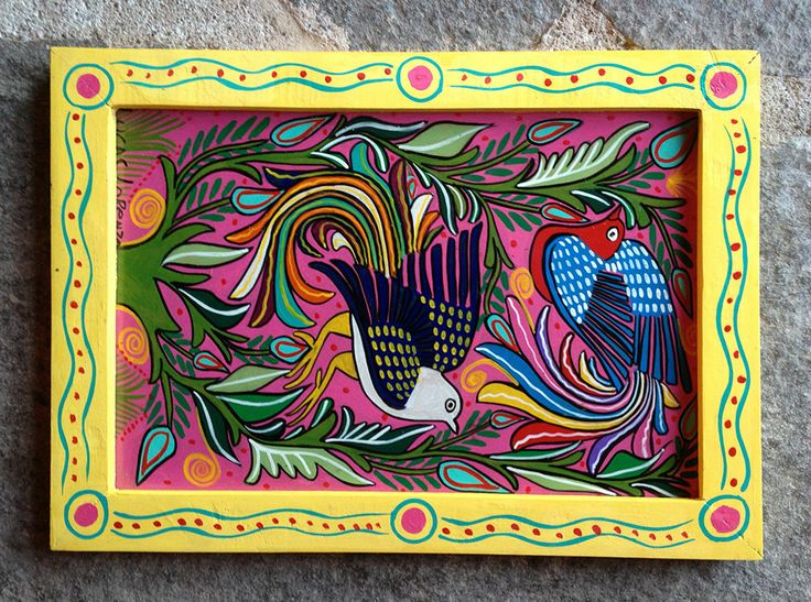 Hand painted Mexican wooden frame, to match the painting inside.