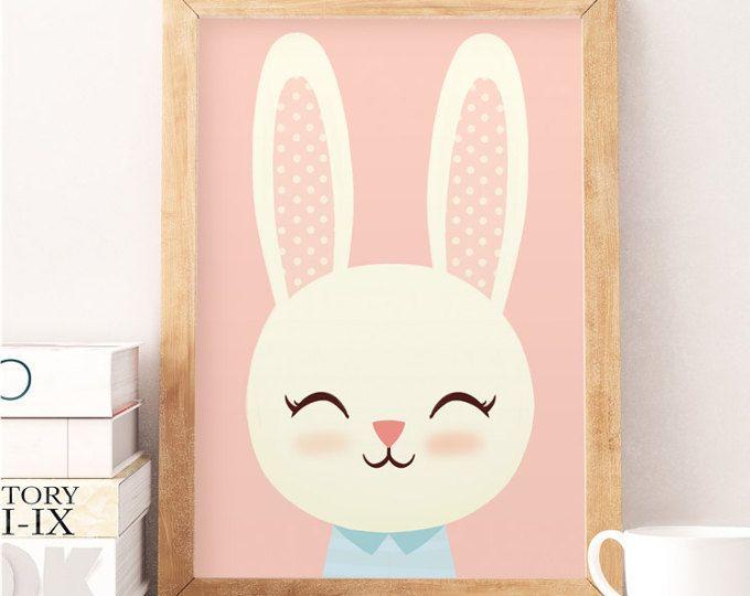Conejo lindo, imprimir conejo animales, impresión escandinavo, dormitorio escandinavo, dormitorio minimalista, impresiones color de rosa, vivero decoración de la pared