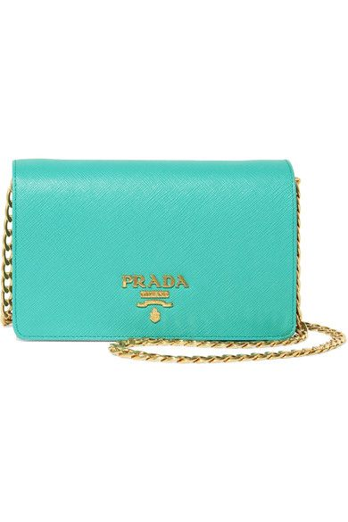 Prada - Textured-leather Shoulder Bag - Turquoise - one size