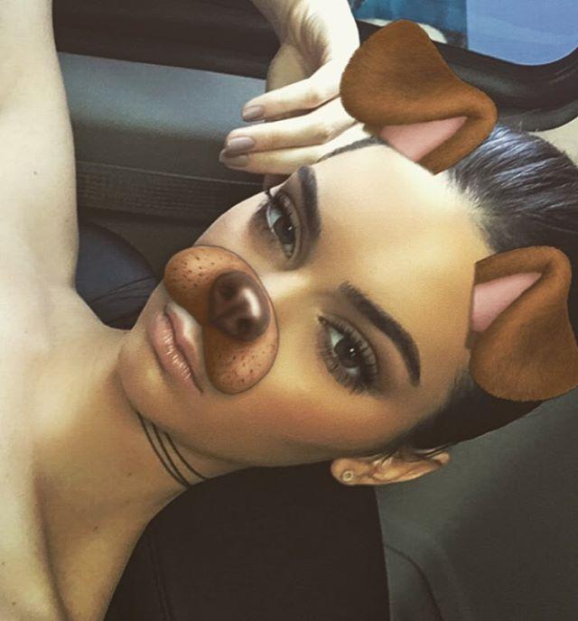 Kendall Jenner Snapchat Dog Makeup