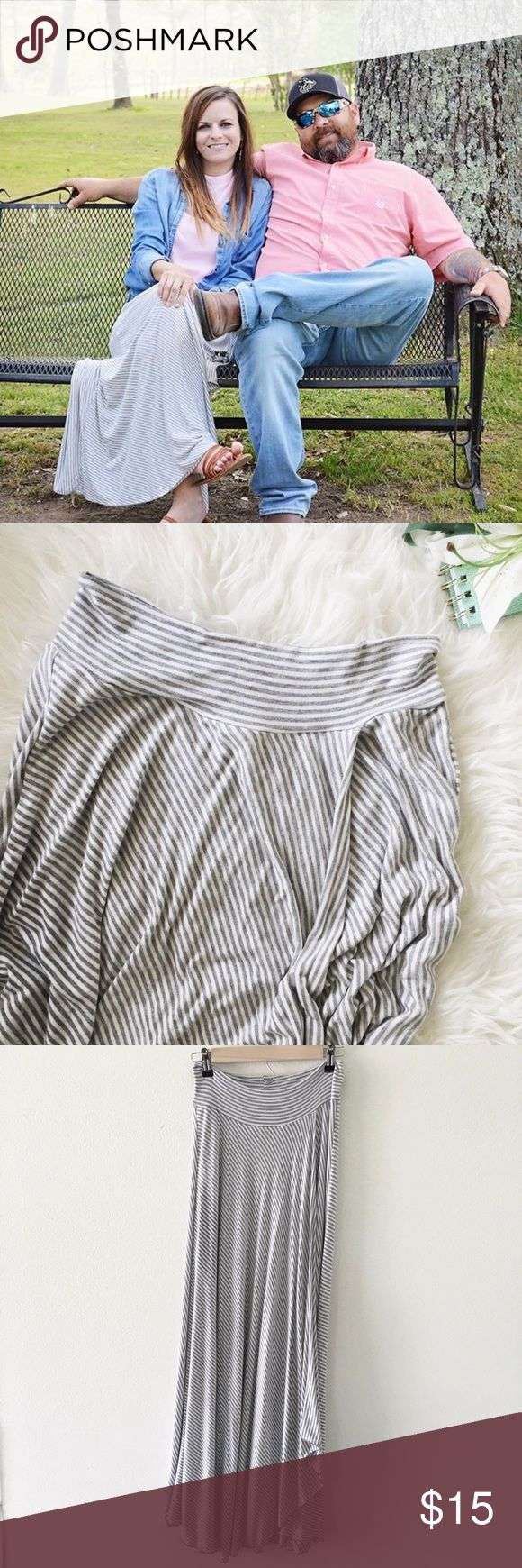 cato • gray + white striped maxi skirt 🛍: cato  ▫️Gary + white striped maxi skirt ▫️it has a couple of layers wrapping over each other  ▫️stretchy - can fold top down  ▫️size: x-small  ▫️condition: gentle preloved condition; worn on Easter and washed once  •please read description & ask questions before purchasing• •no trades• Cato Skirts Maxi