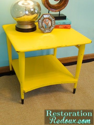 Roughed Up And The Yellow End Table   Restoration Redoux