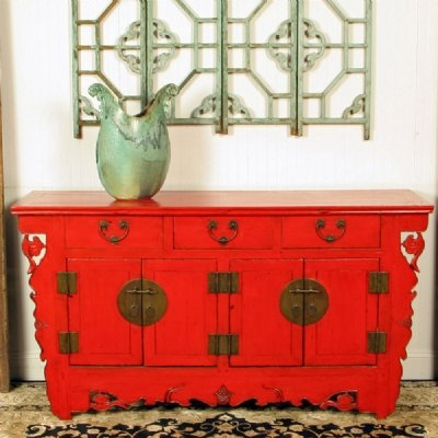 Antique asian chinese furniture buffet cabinet red 4 door for Red chinese furniture