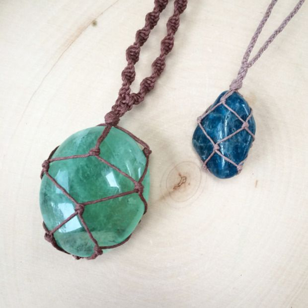 How to make a wrapped stone necklace diy pinterest for How to make rock jewelry